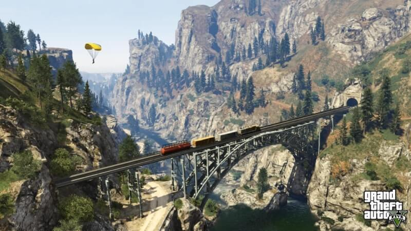 Grand Theft Auto V APK - puente en el valle